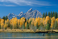 Fly fishing at Deadman's Bar<br /> Snake River and the Grand Teton<br /> Grand Teton National Park<br /> Rocky Mountains, Wyoming