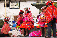 Indians on Plaza, Ollantaytambo, Peru
