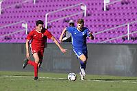 Orlando, Florida - Monday January 15, 2018: Alan Winn and Justin Fiddes. Match Day 2 of the 2018 adidas MLS Player Combine was held Orlando City Stadium.
