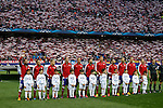 Atletico de Madrid's players and Real Madrid´s initial players before quarterfinal first leg Champions League soccer match at Vicente Calderon stadium in Madrid, Spain. April 14, 2015. (ALTERPHOTOS/Victor Blanco)
