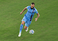 WASHINGTON, DC - SEPTEMBER 06: Maxime Chanot #4 of New York City FC dribbles during a game between New York City FC and D.C. United at Audi Field on September 06, 2020 in Washington, DC.