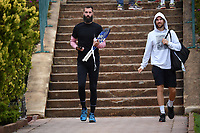 12th April 2021; Roquebrune-Cap-Martin, France;  Beno t Paire et Adrian Mannarino during practise sessions for the  Rolex Monte Carlo Masters