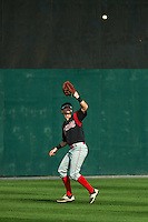 Batavia Muckdogs outfielder Brandon Rawe (22) catches a fly ball during a game against the Auburn Doubledays on September 7, 2015 at Falcon Park in Auburn, New York.  Auburn defeated Batavia 11-10 in ten innings.  (Mike Janes/Four Seam Images)