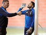Birthday boy Wes Foderingham with coach Jim Stewart