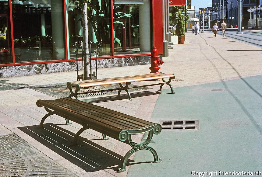Buffalo: Metro Rail--good street furniture at Main St. stop. Photo '88.