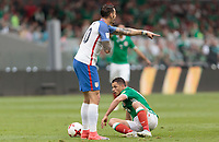 Mexico City, Mexico - Sunday June 11, 2017: Geoff Cameron, Chicharito, Javier Hernandez during a 2018 FIFA World Cup Qualifying Final Round match with both men's national teams of the United States (USA) and Mexico (MEX) playing to a 1-1 draw at Azteca Stadium.