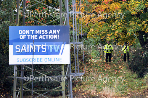 St Johnstone v Celtic…04.10.20   McDiarmid Park  SPFL<br />Police officers on patrol outside McDiarmid Park to prevent any fans from gathering<br />Picture by Graeme Hart.<br />Copyright Perthshire Picture Agency<br />Tel: 01738 623350  Mobile: 07990 594431