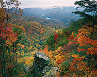 Fall color in Cumberland Gap and Fern Lake as viewed from Pinnacle Overlook; Cumberland Gap National Historic Park, KY