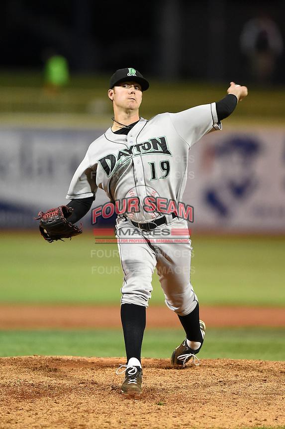 Dayton Dragons pitcher Joel Bender (19) delivers a pitch during a game against the Lake County Captains on June 7, 2014 at Classic Park in Eastlake, Ohio.  Lake County defeated Dayton 4-3.  (Mike Janes/Four Seam Images)