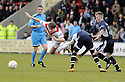 03/05/2008   Copyright Pic: James Stewart.File Name : sct_jspa14_airdrie_v_raith.DARREN SMITH IS CAUGHT LATE.James Stewart Photo Agency 19 Carronlea Drive, Falkirk. FK2 8DN      Vat Reg No. 607 6932 25.Studio      : +44 (0)1324 611191 .Mobile      : +44 (0)7721 416997.E-mail  :  jim@jspa.co.uk.If you require further information then contact Jim Stewart on any of the numbers above........