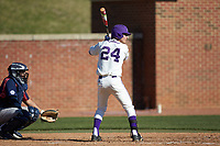 Conner Dunbar (24) of the High Point Panthers at bat against the NJIT Highlanders at Williard Stadium on February 19, 2017 in High Point, North Carolina. The Panthers defeated the Highlanders 6-5. (Brian Westerholt/Four Seam Images)
