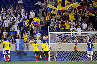 Teofilo Gutierrez (19) of Colombia celebrates scoring on a penalty kick during an international friendly between the men's national teams of Colombia (COL) and Honduras (HON) at Red Bull Arena in Harrison, NJ, on September 03, 2011.