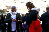 Rome February 27th 2020. Tourists wearing masks around Trevi Fountains.<br /> Photo Samantha Zucchi Insidefoto