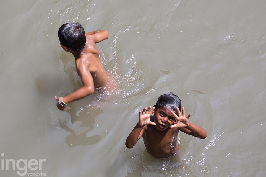 Children Swimming in the Bungamati River at Pashupatinath, Nepal