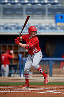 Palm Beach Cardinals Bryce Denton (25) during a Florida State League game against the Charlotte Stone Crabs on April 14, 2019 at Charlotte Sports Park in Port Charlotte, Florida.  Palm Beach defeated Charlotte 5-3.  (Mike Janes/Four Seam Images)