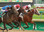 September 06, 2014:#9 Handy Candy and Chris Landeros come from behind to take the last race at Churchill Downs over #2 Tapit Wicked and #7 Obsidian Splendor.  Maiden 2 year old colts. at Churchill Downs.  Candice Chavez/ESW/CSM