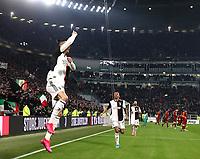 Calcio, Coppa Italia round 8 : Juventus - AS Roma, Turin, Allianz Stadium, January 22, 2020.<br /> Juventus' Cristiano Ronaldo (l) celebrates after scoring during the Italian Cup football match between Juventus and Roma at the Allianz stadium in Turin, January 22, 2020.<br /> UPDATE IMAGES PRESS/Isabella Bonotto