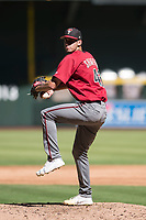 Arizona Diamondbacks relief pitcher Brian Shaffer (43) delivers a pitch to the plate during an Instructional League game against the Kansas City Royals at Chase Field on October 14, 2017 in Phoenix, Arizona. (Zachary Lucy/Four Seam Images)