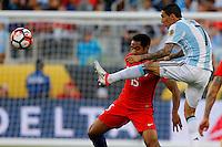 Action photo during the match Argentina vs Chile at Levis Stadium Copa America Centenario 2016. ---Foto  de accion durante el partido Argentina vs Chiler, En el Estadio de la Universidad de Phoenix, Partido Correspondiante al Grupo - D -  de la Copa America Centenario USA 2016, en la foto: (i)-(d) Jean Beausejour, Angel Di Maria<br /> --- 06/06/2016/MEXSPORT/PHOTOSPORT/ Andres Pina
