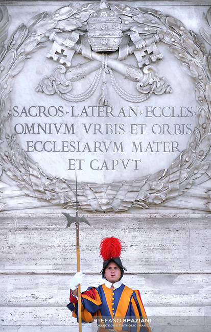 Pontifical Swiss Guard  basilicas San Giovanni in Laterano..The Corps of the Pontifical Swiss Guard or Swiss Guard,Guardia Svizzera Pontificia,responsible for the safety of the Pope, including the security of the Apostolic Palace. It serves as the de facto military of Vatican City..Pope Benedict XVI arrives to celebrate a Mass in memory of the late Pope John Paul II on the second anniversary of his death, at St. Peter's Basilica at the Vatican, Monday, April 2, 2007. Roman Catholics marked the second anniversary of Pope John Paul II's death Monday with vigils in his native Poland and a ceremony earlier in Rome to seal shut - with red ribbons and wax - documents on the pope's life that are vital to making him a saint..10/06/2009