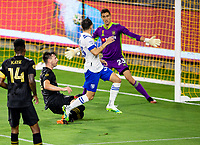LOS ANGELES, CA - SEPTEMBER 02: Pablo Sisniega #23 GK of LAFC stands his ground during a game between San Jose Earthquakes and Los Angeles FC at Banc of California stadium on September 02, 2020 in Los Angeles, California.