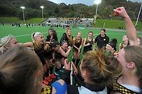 Dalefield celebrates winning the 2021 Wellington premier one women's hockey final between Harbour City and Dalefield at National Hockey Stadium in Wellington, New Zealand on Saturday, 14 August 2021. Photo: Dave Lintott / lintottphoto.co.nz