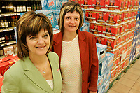 Danielle (Left) and Martine (Right) Saint-George, Co-Owners Provigo store in St-Michel des Saints where the main employer Louisiana Pacific recently shut down its two plants, because of wood low price, strong Canadian Dollar and increased cutting fees inposed by Quebec Government.<br /> (c) Pierre Roussel