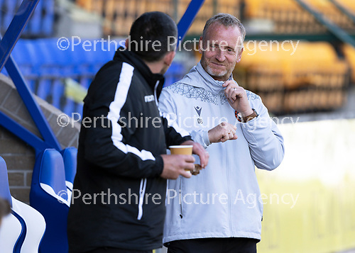 St Johnstone FC…..<br />Callum Davidson greets Dave Bowman<br />Picture by Graeme Hart.<br />Copyright Perthshire Picture Agency<br />Tel: 01738 623350  Mobile: 07990 594431