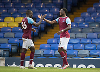 Mesaque Dju, West Han U21's congratulates Ademipo Odubeko, West Ham U21's on his second goal during Southend United vs West Ham United Under-21, EFL Trophy Football at Roots Hall on 8th September 2020