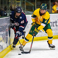 8 February 2020: University of Connecticut Husky Forward Danielle Fox, a Sophomore from Unionville, Ontario, battles University of Vermont Catamount Defender Sini Karjalainen, a Sophomore from Posio, Finland, in the first period at Gutterson Fieldhouse in Burlington, Vermont. The Huskies defeated the Lady Cats 4-2 in the first game of their weekend Hockey East series. Mandatory Credit: Ed Wolfstein Photo *** RAW (NEF) Image File Available ***