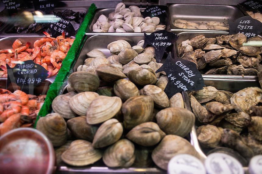Shellfish display at a seafood market.
