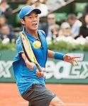 May 24,2016:   Yen-Hsun Lu (TPE) loses to Novak Djokovic (SRB) 6-4, 6-1, 6-1 at  Roland Garros being played at Stade Roland Garros in Paris, .  ©Leslie Billman/Tennisclix