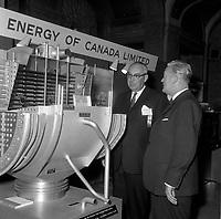 Le Premier Ministre liberal Jean Lesage, visite une maquette de reacteur nuclaire,  mai 1965 (date exacte inconnue)<br /> <br /> PHOTO :  Agence Quebec Presse - Photo Moderne