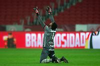 10nd June 2021; Beira-Rio Stadium, Porto Alegre, Brazil; Copa do Brazil, Internacional versus Vitoria; Goalkeeper Lucas Arcanjo of Vitória celebrates the goal scored by Samuel in the 70th minute for 0-1
