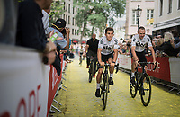 "Michal Kwiatkowski (POL/SKY) & Chris Froome (GBR/SKY) up the Yellow Brick Road<br /> <br /> ""Le Grand Départ"" <br /> 104th Tour de France 2017 <br /> Team Presentation in Düsseldorf/Germany"