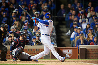 Chicago Cubs Jason Heyward (22) bats in the eighth inning during Game 5 of the Major League Baseball World Series against the Cleveland Indians on October 30, 2016 at Wrigley Field in Chicago, Illinois.  (Mike Janes/Four Seam Images)