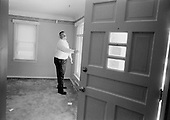Cleveland, Ohio.March 12, 2008 ..An inspector from Safeguard Properties in Cleveland checks out homes that owners, mostly mortgage companies, hire to keep from being vandalized or damaged. Safeguard Properties is a company that works throughout the United States.