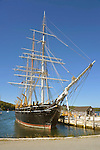 Mystic Seaport and historic 19th century village museum. Charles Morgan Wooden Whaleship. 1841. Rigging and masts.
