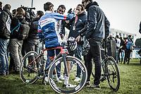 Anthony Turgis (FRA/Team Total - Direct Energie)post race interview<br /> <br /> <br /> 117th Paris-Roubaix (1.UWT)<br /> 1 Day Race: Compiègne-Roubaix (257km)<br /> <br /> ©kramon
