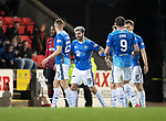 St Johnstone v St Mirren….27.03.19   McDiarmid Park   SPFL<br />An angry Richard Foster is pulled back from confronting Ethan Erhahon by team mate Ross Callachan. Erhahon was shown a straight red card for his tackle on Foster<br />Picture by Graeme Hart. <br />Copyright Perthshire Picture Agency<br />Tel: 01738 623350  Mobile: 07990 594431