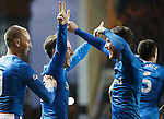 Barrie McKay celebrates his goal with Joe Garner and Kenny Miller