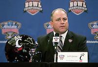 31 December 2009: Cincinnati interim head coach Jeff Quinn talks to the press during Sugar Bowl Press Conference at the Marriott Hotel in New Orleans, Louisiana.