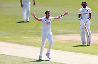 Matt Quinn (on loan from Essex) of Kent celebrates taking the wicket of Ricardo Vasconcelos during Kent CCC vs Northamptonshire CCC, LV Insurance County Championship Group 3 Cricket at The Spitfire Ground on 3rd June 2021