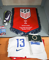 GEORGETOWN, GRAND CAYMAN, CAYMAN ISLANDS - NOVEMBER 19: Tim Ream #13 Captain of the United States men's team locker during a game between Cuba and USMNT at  Truman Bodden Sports Complex on November 19, 2019 in Georgetown, Grand Cayman.