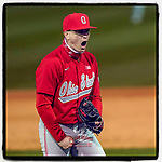Closing pitcher Bayden Root (6) of the Ohio State Buckeyes shouts after recording the final out in the 13th inning of a 6-3 win over the Illinois Fighting Illini on Friday, March 5, 2021, at Fluor Field at the West End in Greenville, South Carolina. (Tom Priddy/Four Seam Images)