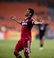 Pavel Pardo (13) of the Chicago Fire shows his disappointment in a call against him at RFK Stadium in Washington, DC.  D.C. United defeated the Chicago Fire, 4-2.