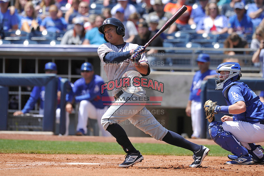 Northwest Arkansas Naturals Mauricio Ramos (3) swings during the game against the Tulsa Drillers at Oneok Stadium on May 1, 2016 in Tulsa, Oklahoma.  Northwest Arkansas won 7-5.  (Dennis Hubbard/Four Seam Images)
