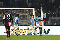 Football, Serie A: S.S. Lazio - Juventus Olympic stadium, Rome, December 7, 2019. <br /> Lazio's Felipe Caicedo (r) celebrates after scoring with his teammates during the Italian Serie A football match between S.S. Lazio and Juventus at Rome's Olympic stadium, Rome on December 7, 2019.<br /> UPDATE IMAGES PRESS/Isabella Bonotto