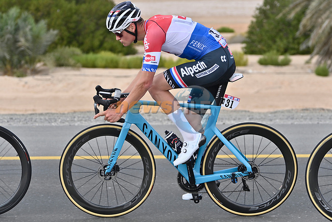 Mathieu van der Poel (NED) Alpecin-Fenix in the lead group during Stage 1 of the 2021 UAE Tour the ADNOC Stage running 176km from Al Dhafra Castle to Al Mirfa, Abu Dhabi, UAE. 21st February 2021.  <br /> Picture: LaPresse/Fabio Ferrari | Cyclefile<br /> <br /> All photos usage must carry mandatory copyright credit (© Cyclefile | LaPresse/Fabio Ferrari)