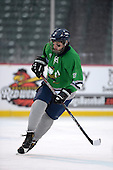 Notre Dame Fighting Irish of Batavia forward Spencer Misiak (17) during a varsity ice hockey game against the Brockport Blue Devils during the Section V Rivalry portion of the Frozen Frontier outdoor hockey event at Frontier Field on December 22, 2013 in Rochester, New York.  (Copyright Mike Janes Photography)